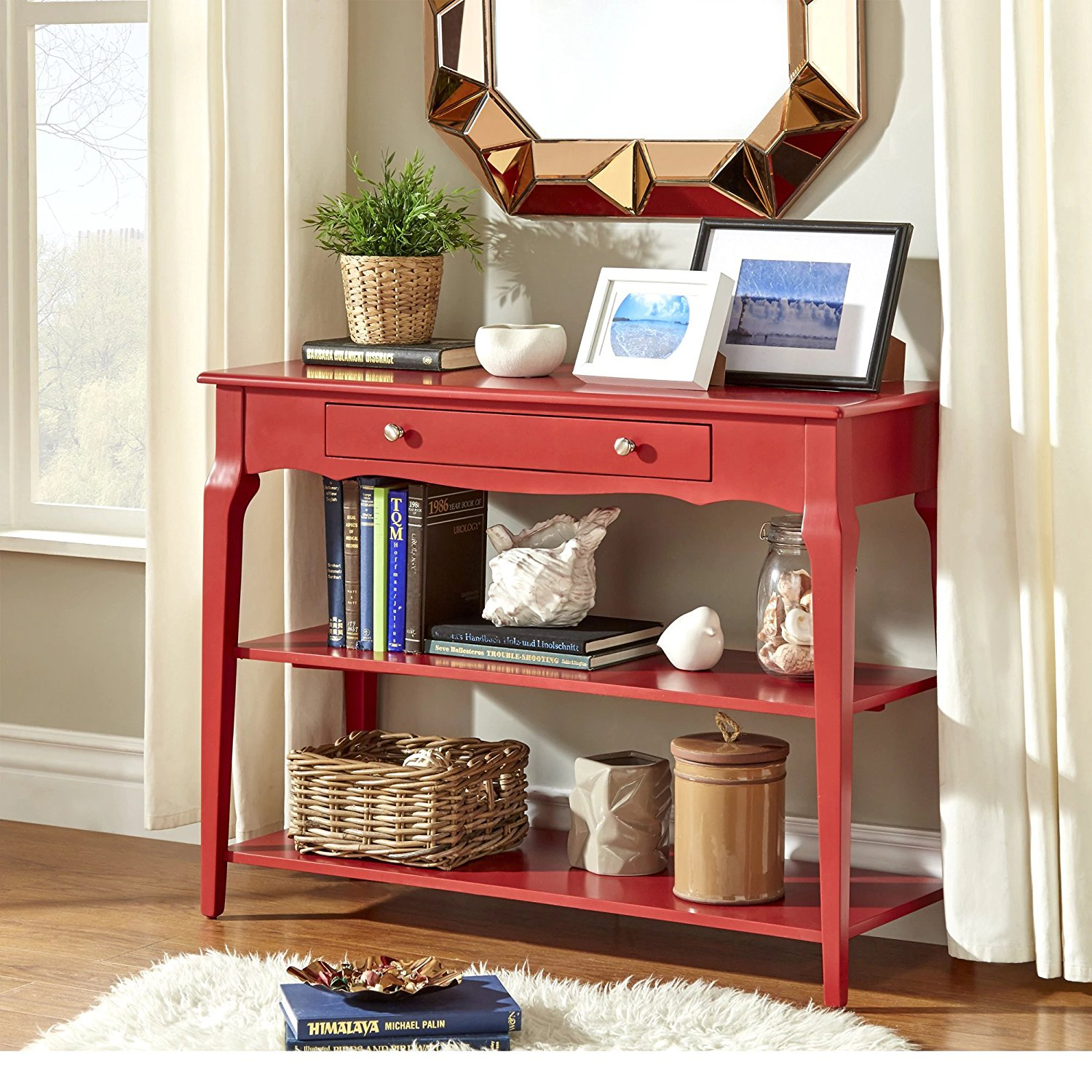 Modern Wood Accent Console Sofa Table with 1 Drawer and 2 Open Shelves - Includes Modhaus Living Pen (Red)