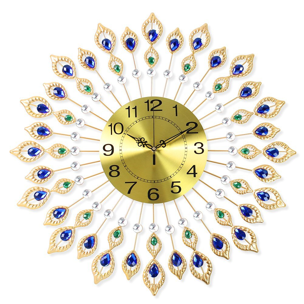 NEOTEND 3D Wall Clock 80pcs Diamonds Decorative Clock Diameter 26.4""