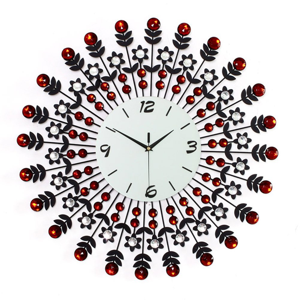 NEOTEND 3D Wall Clock 98pcs Diamonds Decorative Clock Red Diameter 23.6""