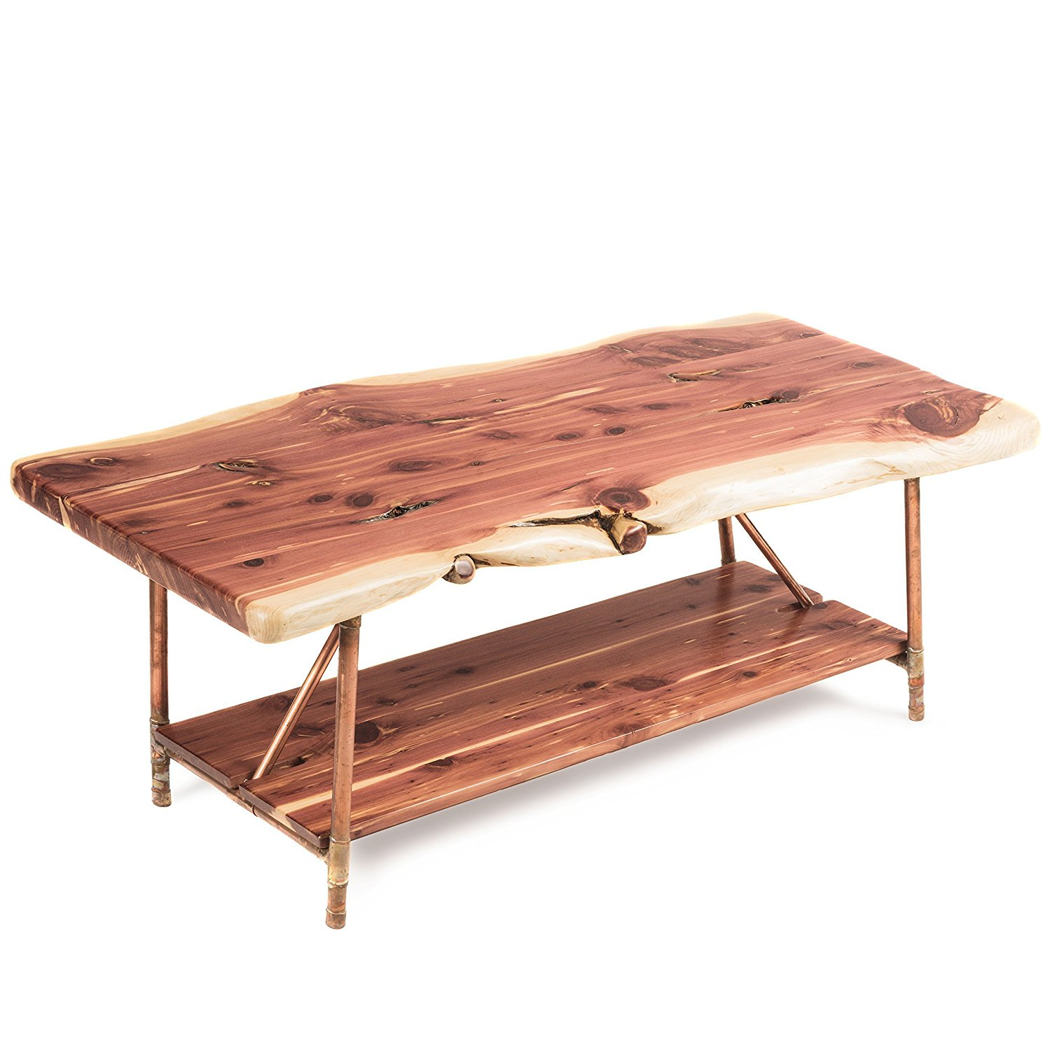 "Niangua Furniture Live Edge Cedar Rustic Coffee Table with Copper Pipe Legs - 48"" x 23"""