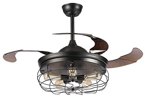 "Parrot Uncle Industrial Ceiling fans with 5 Edison Bulbs Included 42"" Black Vintage Ceiling Fan Lights with Remote Control 4 Retractable Blades"