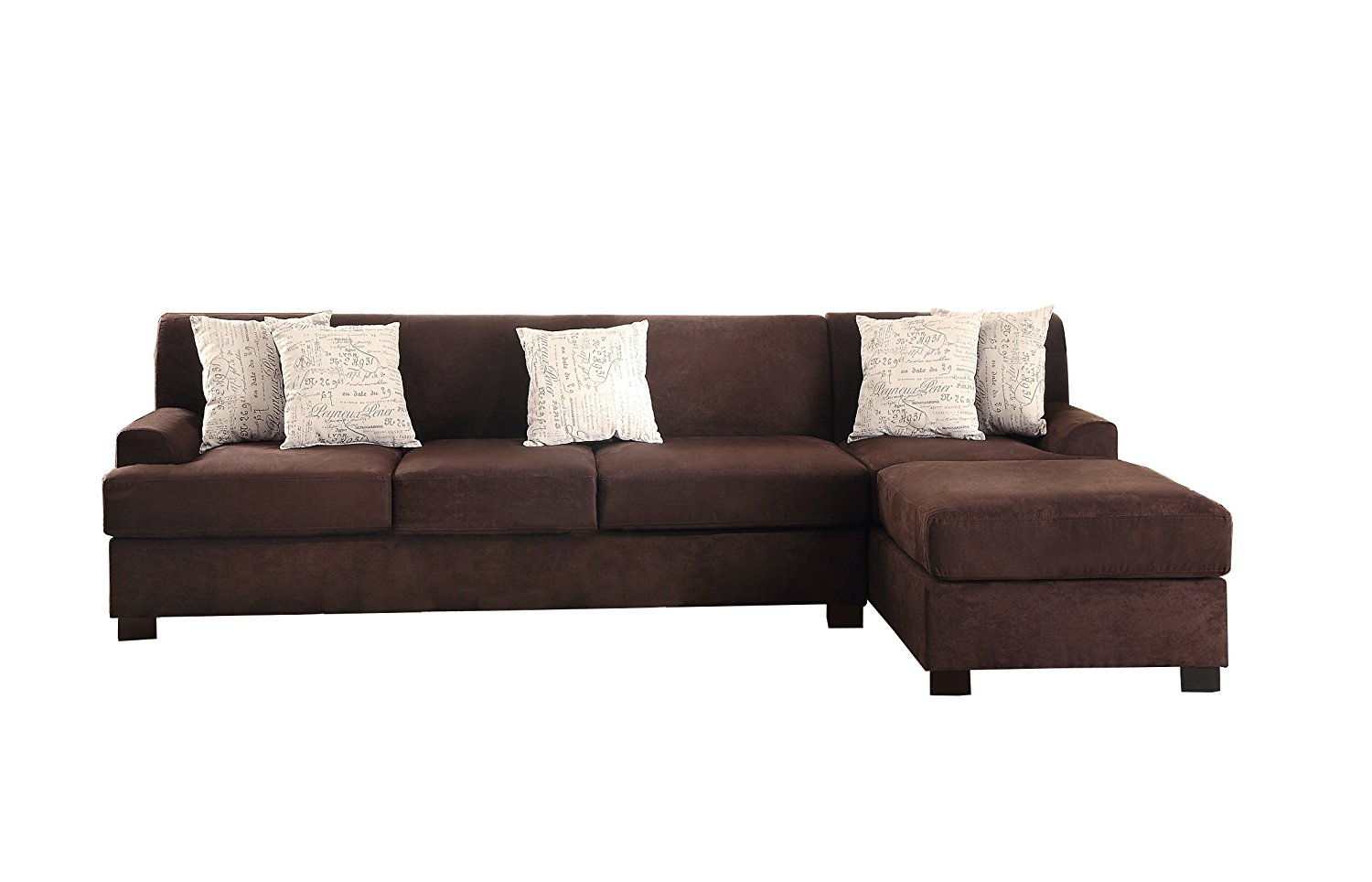Poundex Bobkona Hudson Microsuede 4-Seat Reversible Sectional Sofa, Chocolate