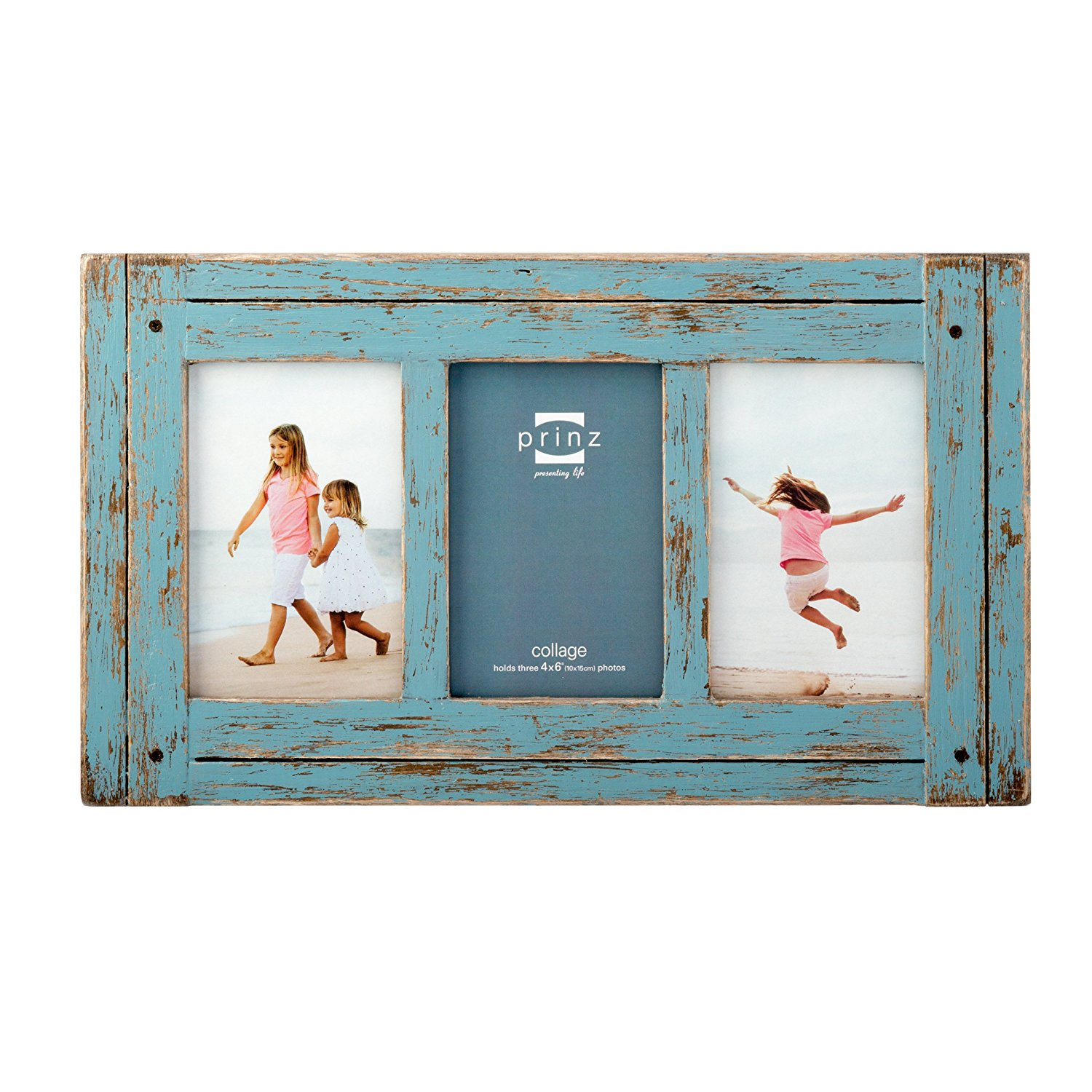 "Prinz 3 Opening Homestead Antique Wood Collage Frame, 4 x 6"", Blue"