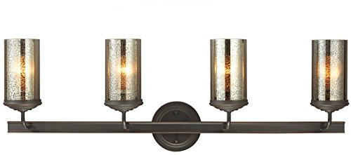 Sea Gull Lighting 4410404-715 Sfera Four-Light Bath or Wall Light Fixture with Mercury Glass, Autumn Bronze Finish