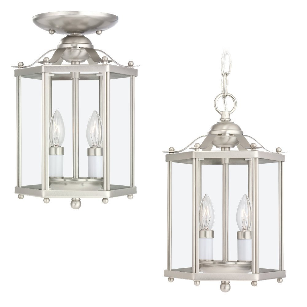 Sea Gull Lighting 5232-962 2-Light Hall and Foyer Fixture, Clear Glass Panels and Brushed Nickel