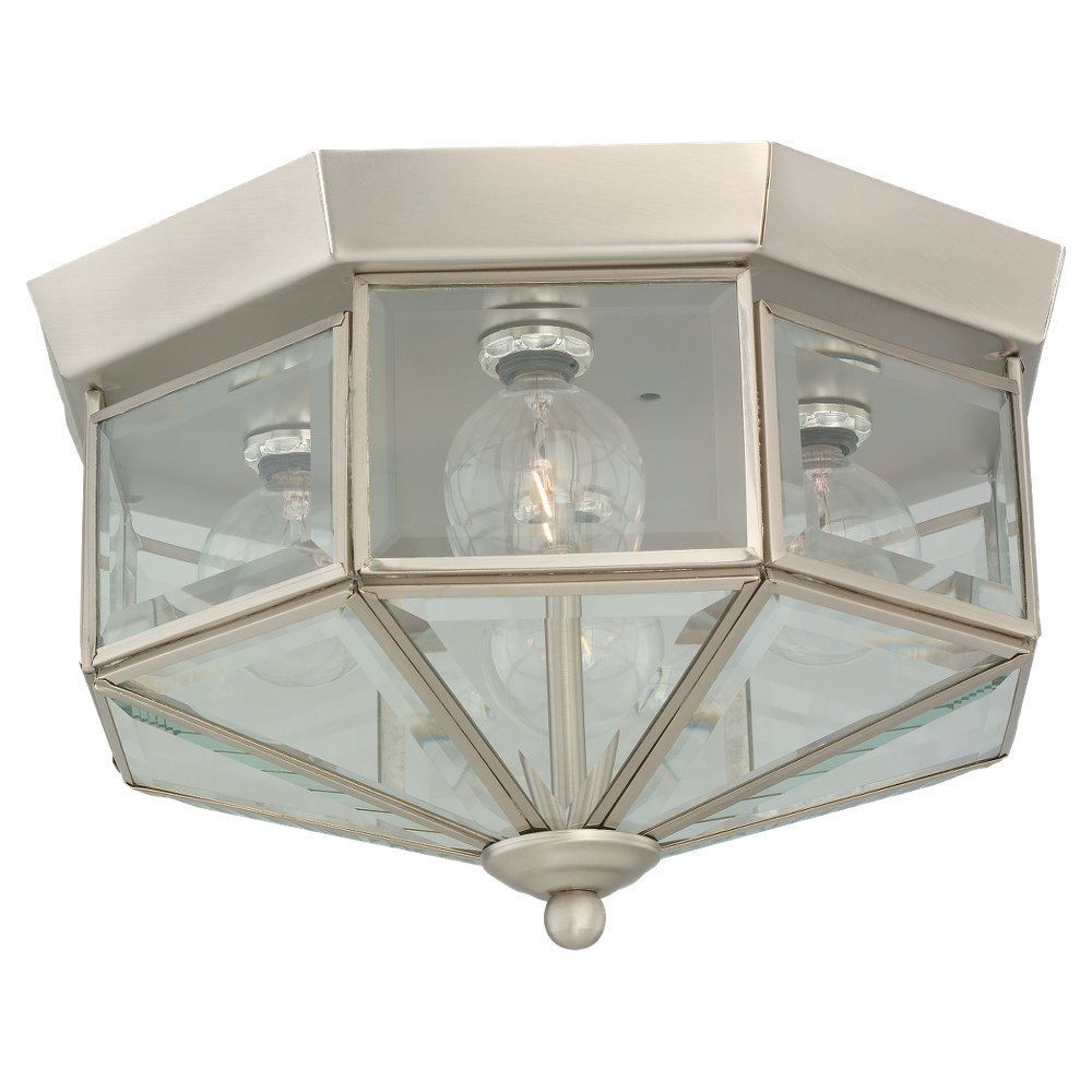 Sea Gull Lighting 7662-962 4-Light Hall and Foyer Ceiling Fixture, Clear Beveled Glass Panels and Brushed Nickel