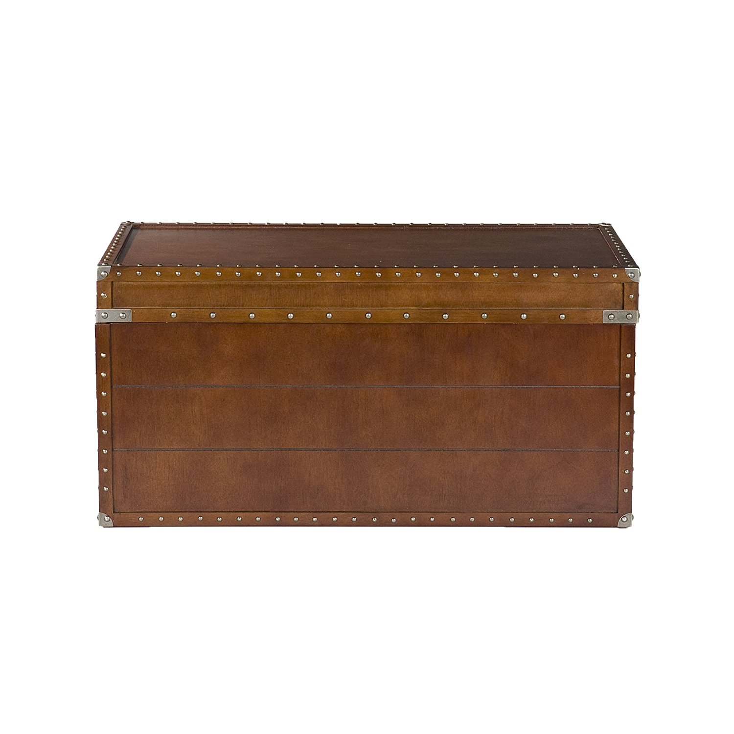 Southern Enterprises Steamer Storage Trunk Cocktail Table, Walnut Finish