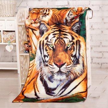 UR Towels 60x120cm Absorbent Microfiber Animal Tiger Print Beach Towels Soft Quick Dry Bath Towel