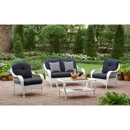 White All Weather Wicker 4 Piece Patio Conversation Set