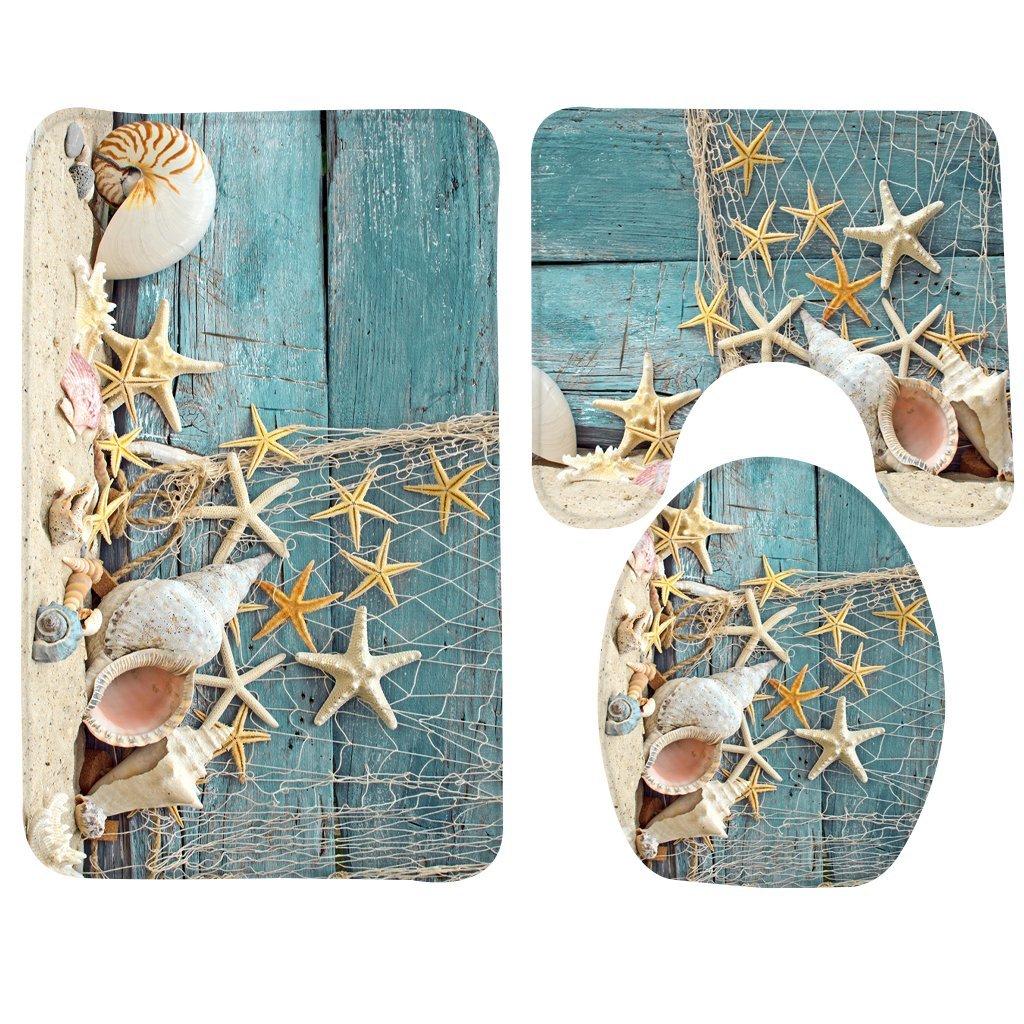 Wondertify Bath Mat,Beach,Seashells Starfish Sand Holidays Summer Bathroom Carpet Rug,Non-Slip 3 Piece Bathroom Mat Set