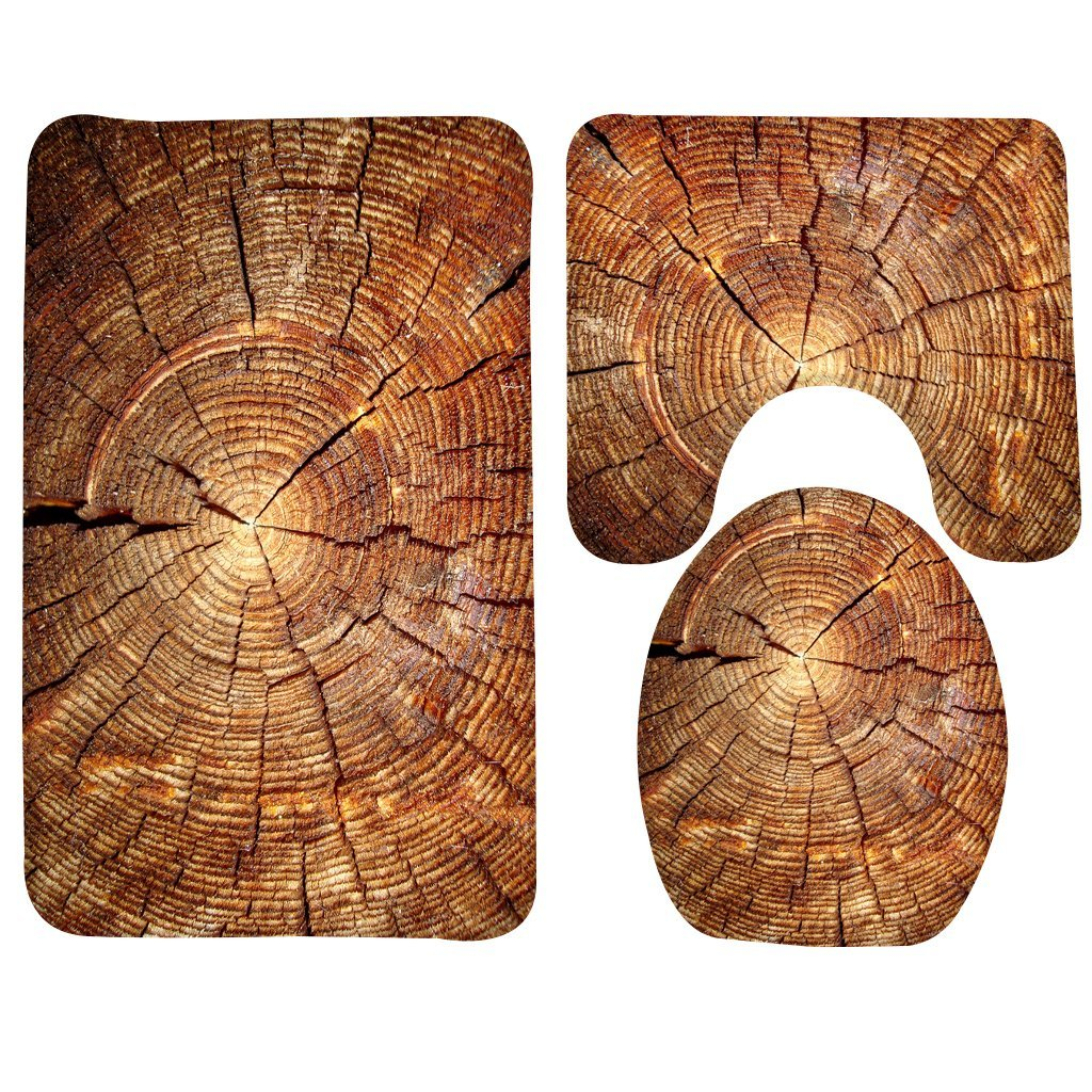 Wondertify Bath Mat,Wood,Tree Stump Bathroom Carpet Rug,Non-Slip 3 Piece Bathroom Mat Set