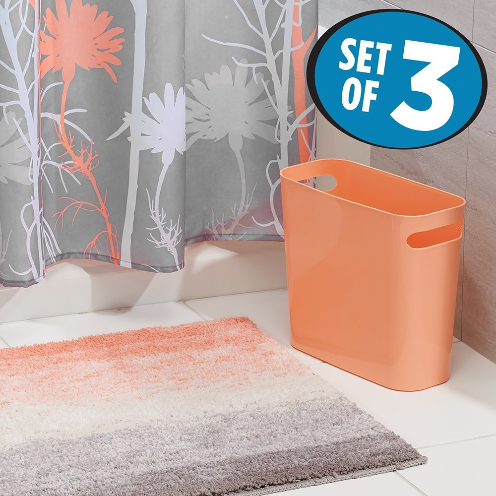 mDesign Floral Fabric Shower Curtain, Ombre Microfiber Bathroom Accent Rug, Wastebasket Trash Can - Set of 3, Coral/Gray