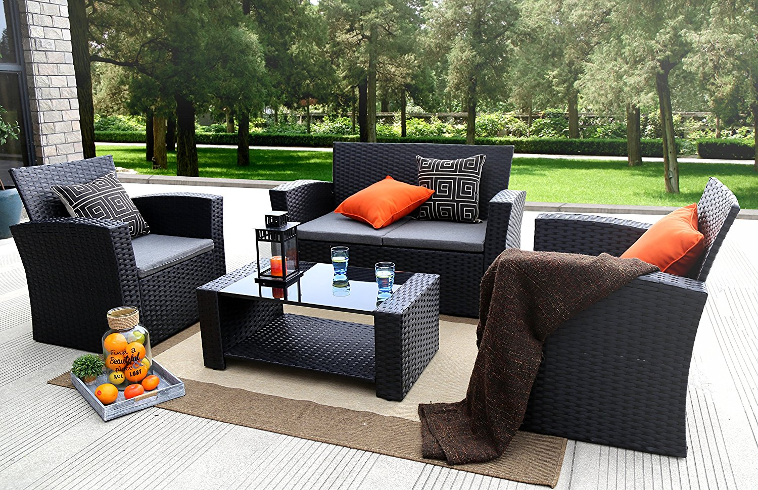 Baner Garden (N87) 4 Pieces Outdoor Furniture Complete Patio Cushion Wicker P.E Rattan Garden & Resin Wicker Patio Furniture u2013 Nice Outdoor Addition | Cool Ideas ...