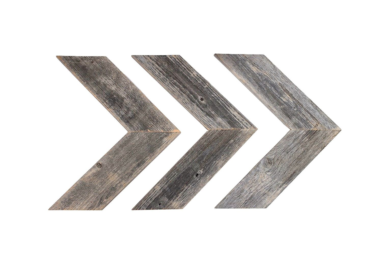 BarnwoodUSA Rustic Chevron Decorative Arrow Set of 3 - 100% Reclaimed Wood (Weathered Gray)