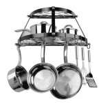 Double Shelf Wall Mount Black Pot Rack