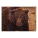 Gizaun Art Big Bear Indoor/Outdoor Full Color Cedar Wall Art