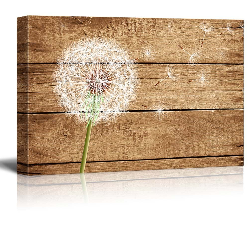"Wall26 - Canvas Prints Wall Art - Artistic Abstract Dandelion on Vintage Wood Background - 12"" x 18"""