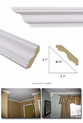 """Crown Molding - Polyurethane Crown Moulding Manufactured with a Dense Architectural Polyurethane Compound. Breadth 3"""". 6 pcs. Over 47 ft."""