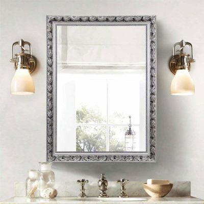 "Large Rectangular Bathroom Mirror, Wall-Mounted Wooden Frame Vanity Mirror, Silver (38""x26"")"