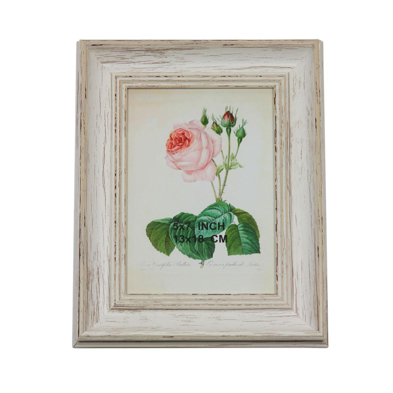 """9.75"""" Vintage Inspired Distressed White Photo Picture Frame 5""""x7"""""""