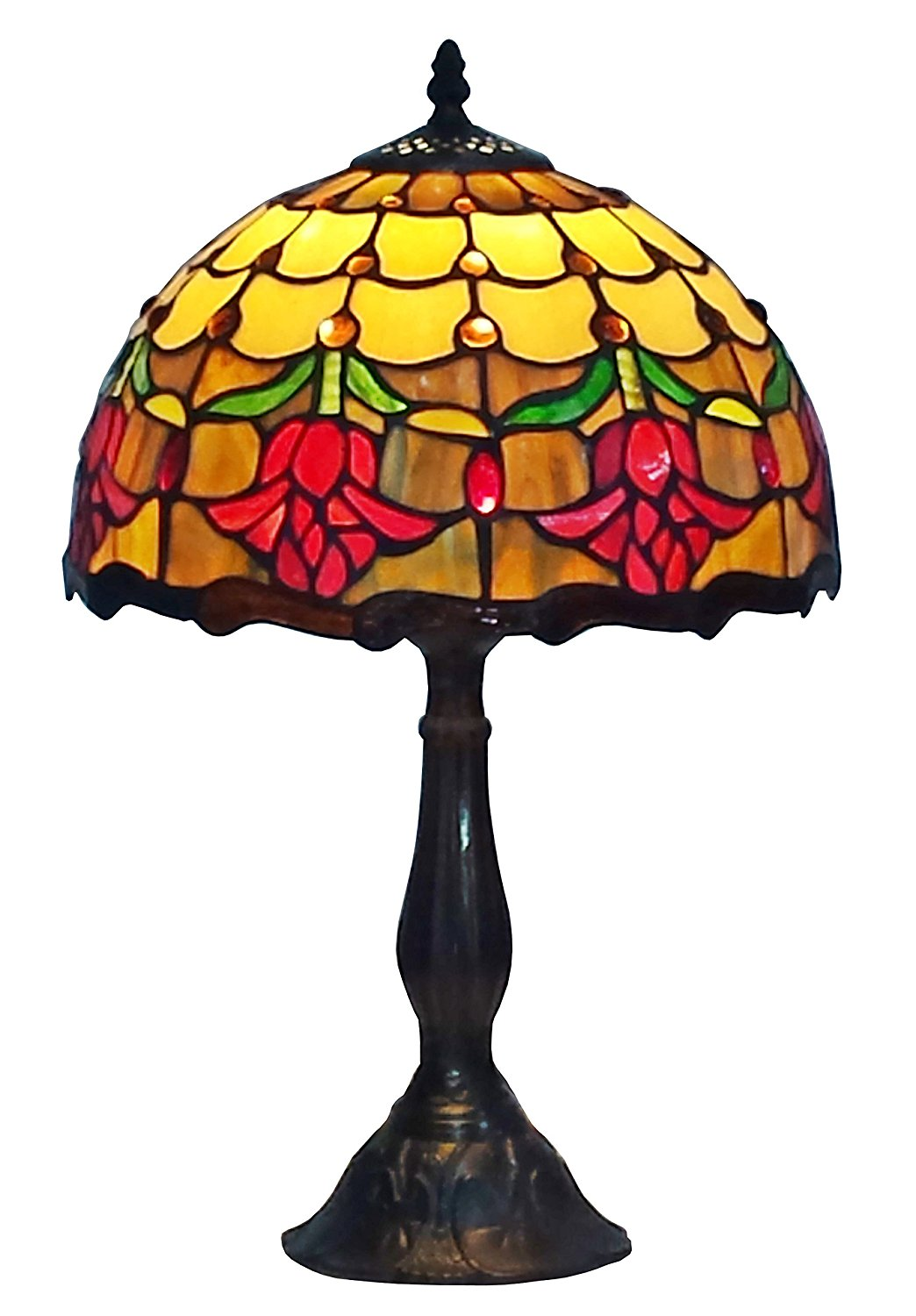 Amora Lighting AM1094TL12 Tiffany Style Stained Glass Table Lamp Tulip Flower Design