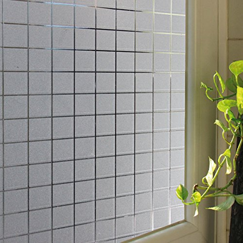 Becry Plastic Privacy Window Film Non Adhesive Frosted Static Window Film Self Static Cling Vinly Window Film for Home Bathroom Office,35.5-by-78.7 Inches(90 x 200CM)