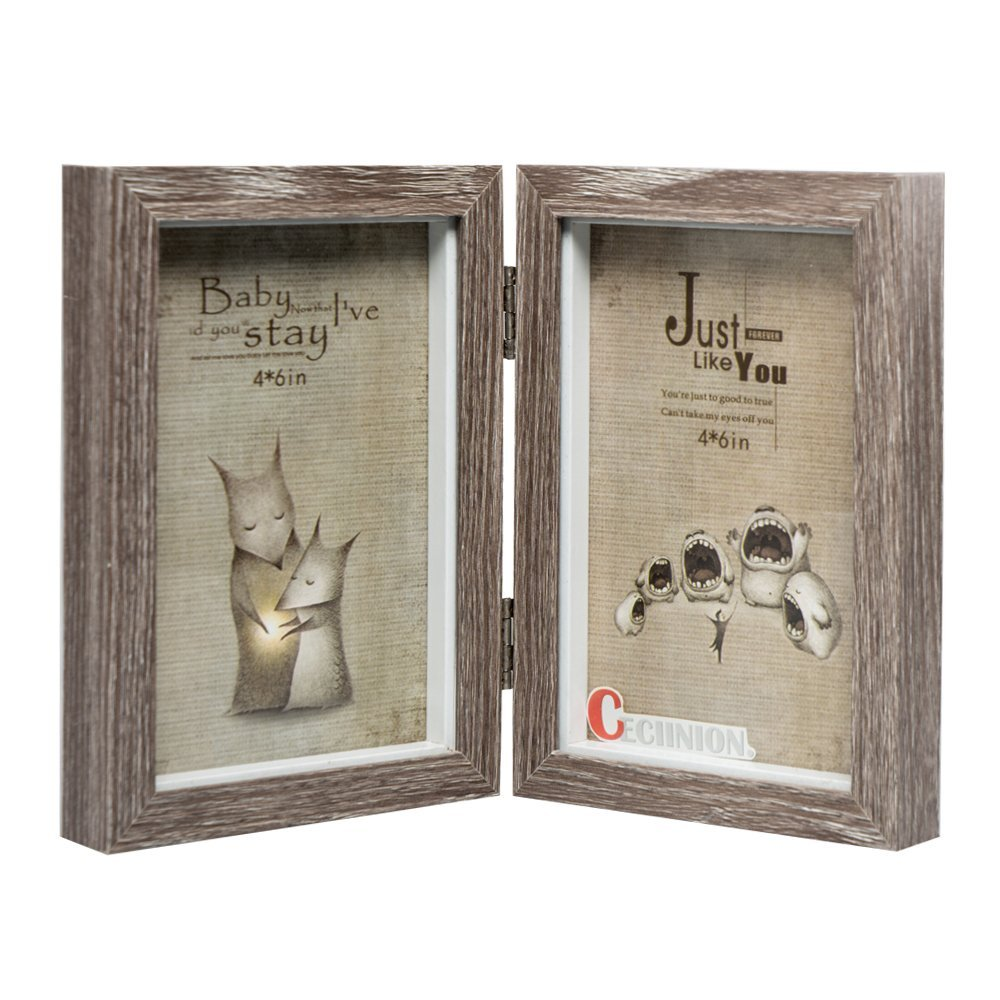 CECIINION Wood Picture Frame, Hinged Double Picture Frame, Double 4 By 6 inch (For 4x6in Photo,Grey Color)