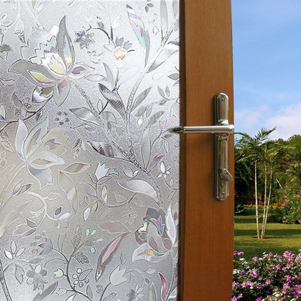 Color Your World Vinyl Static Cling Frosted Flower Patterned Decorative Adhesive Free Bathroom Office Privacy Window Glass Film,17.7 x 78.7 Inches (45CM by 200CM)