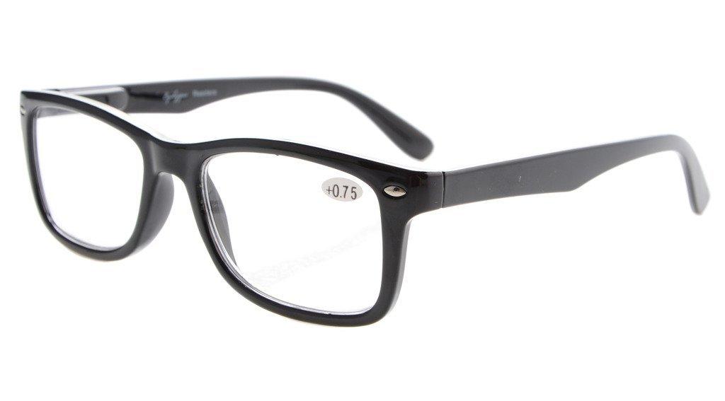 Eyekepper Readers Spring-Hinges Quality Classic Vintage Style Reading Glasses Black +1.0