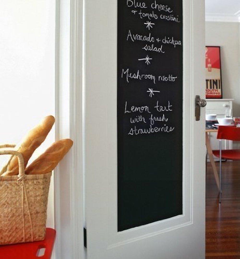 Fancy-fix Blackboard Vinyl Peel and Stick Self Adhesive Chalkboard Wall Sticker with 5 Chalks- Big Roll 17.7 By 78.7 Inches