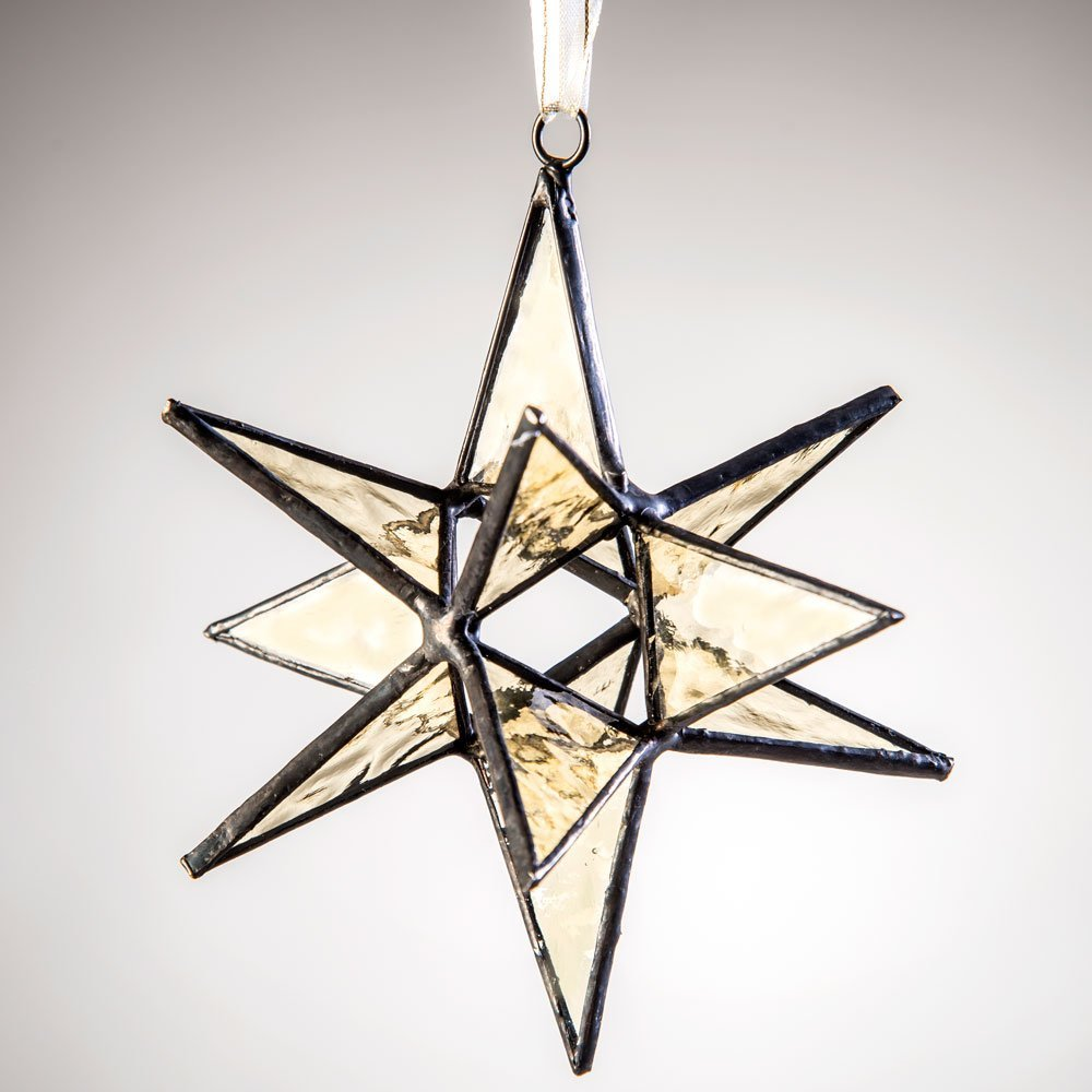 J Devlin Orn 250 Stained Glass Moravian Star Ornament Antique Pale Amber Yellow 4 1/2 x 4 1/2
