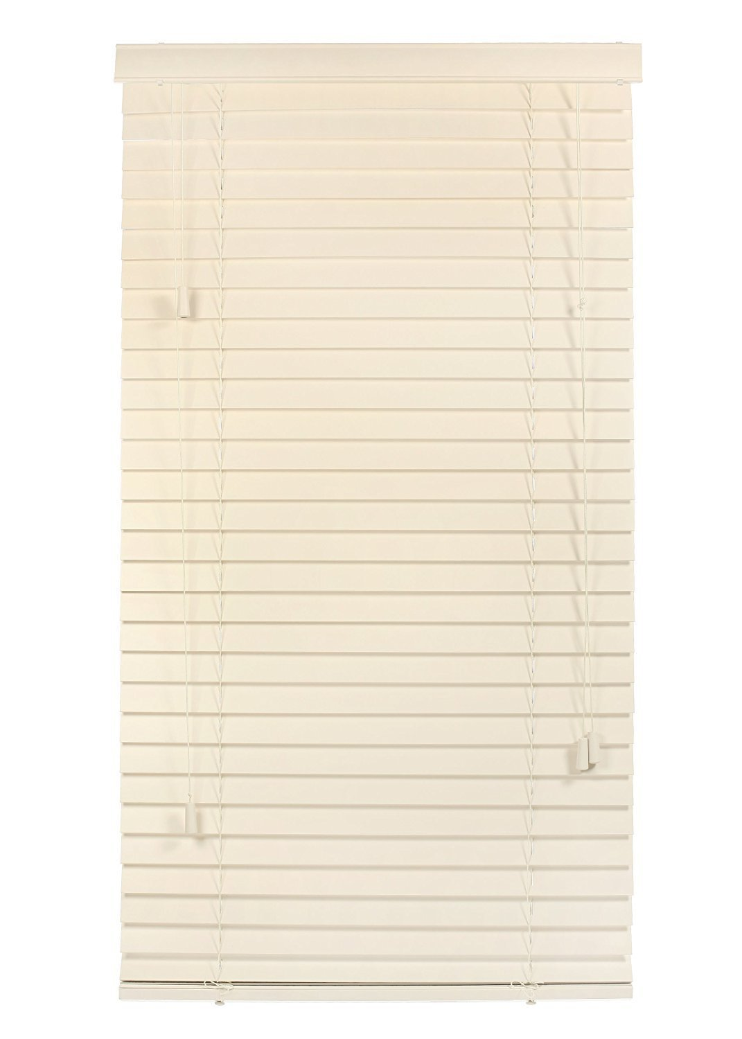 """Luxr Blinds Custom-Made 100% Real Wood 2"""" Slats Venetian Blinds: Easy-Mount Horizontal Window Treatment with Magnetic Valences - 46.5""""X64"""" Length Butter Cream (Off White)"""