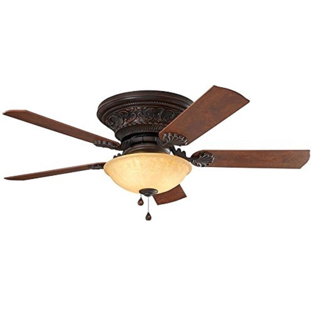 Lynstead 52-in Specialty Bronze Flush Mount Indoor Residential Ceiling Fan with LED Light Kit