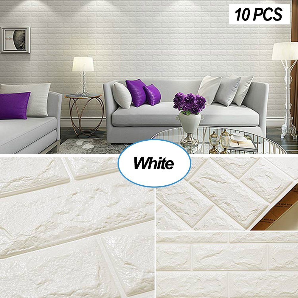 Masione White Brick Wallpaper Tiles Self-adhesive 3D Foam Wall Panels for Home Decor TV Walls kitchen bedroom living room Background Wall Decor (White-10 pieces 58.13 sq.ft)