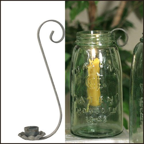 Mason Jar Taper Candle Holder in Barn Roof