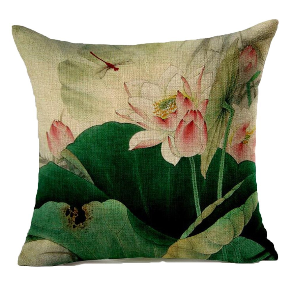 Monkeysell Lotus Leaf Butterfly Flowers Pattern Cotton Linen Throw Pillow Case Cushion Cover Home Sofa Decorative 18 X 18 Inch (S042B6)