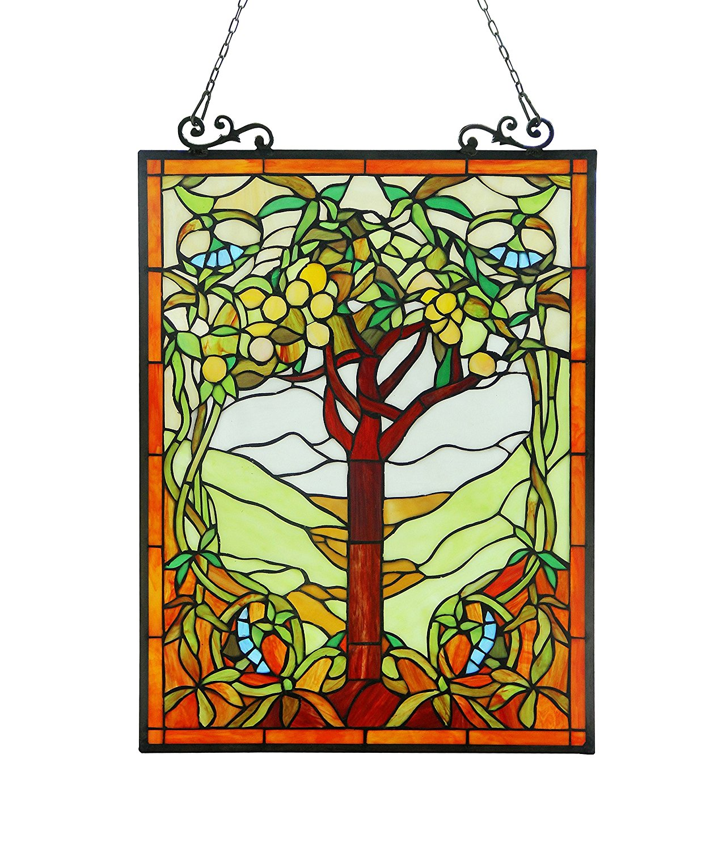 OLEA Fruits of life Tiffany-style Glass Window Panel 18x25
