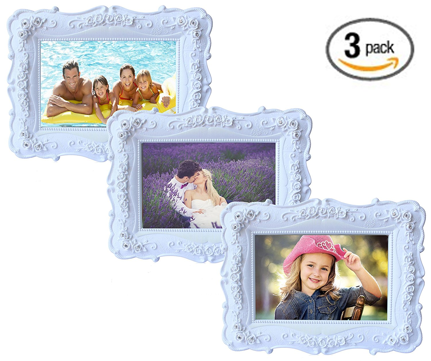 """Olivery Victorian Inspired Flower Photo Frame - 4"""" X 6"""" Easel Soft Velvet Back Floral Picture Frames - Hand-painted Resin & Glass Home Decor - Great Gift Idea, Wedding Gift & More (3 Packs)"""