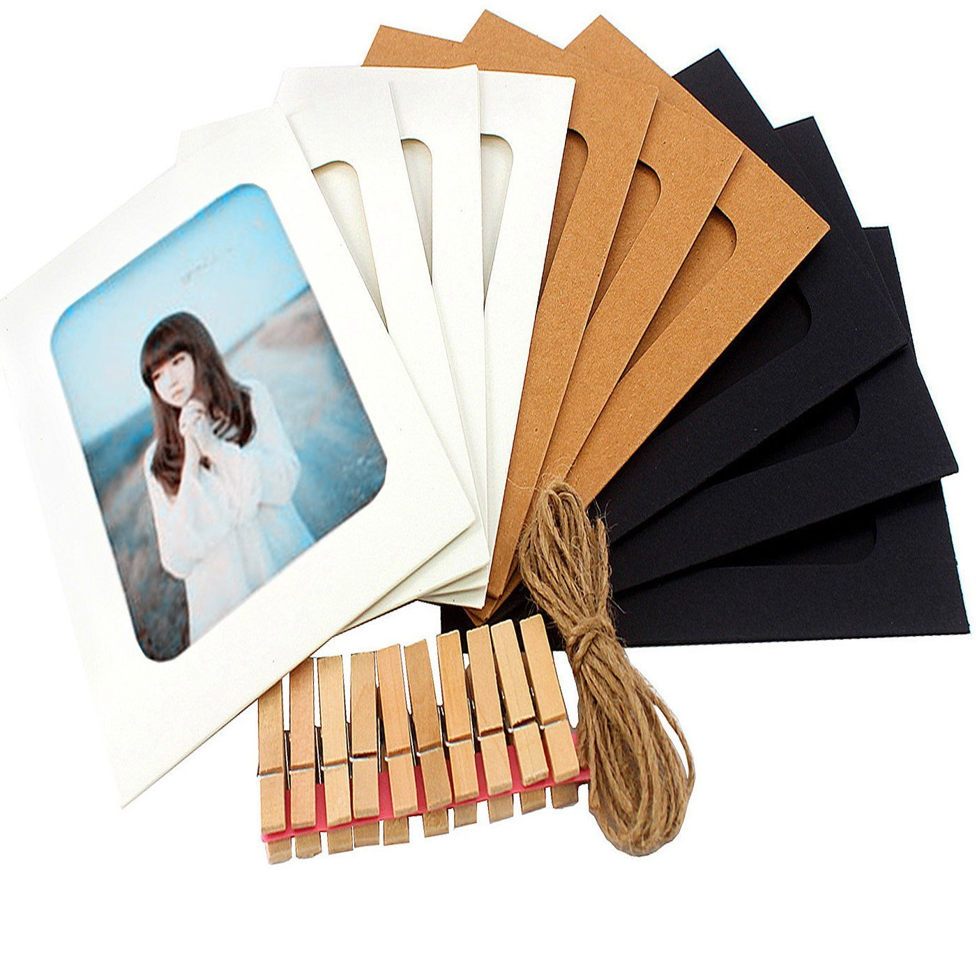 Paper Photo Frames 4x6 DIY Collage for Wall Hanging Decorative Lightweight Cardboard Handicraft 10 Pieces