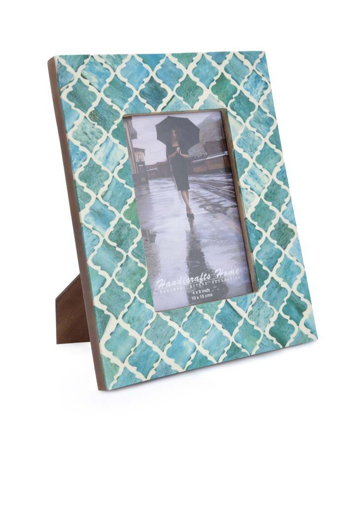 Picture Frame Photo Frame Moorish Damask Moroccan Arts Inspired Handmade Naturals Bone Frames Size 4x6 & 5x7 Inches (4X6, Green)