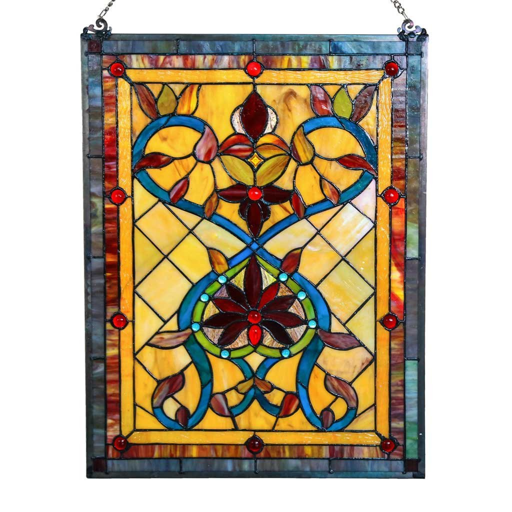 "River of Goods 15046 Tiffany Style Stained Glass Firey Hearts and Flowers Window Panel 24"" H"