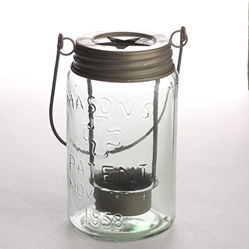 Rustic Small Mouth Mason Jar Luminary Lantern with Star Cutout and Silver Metal Handle