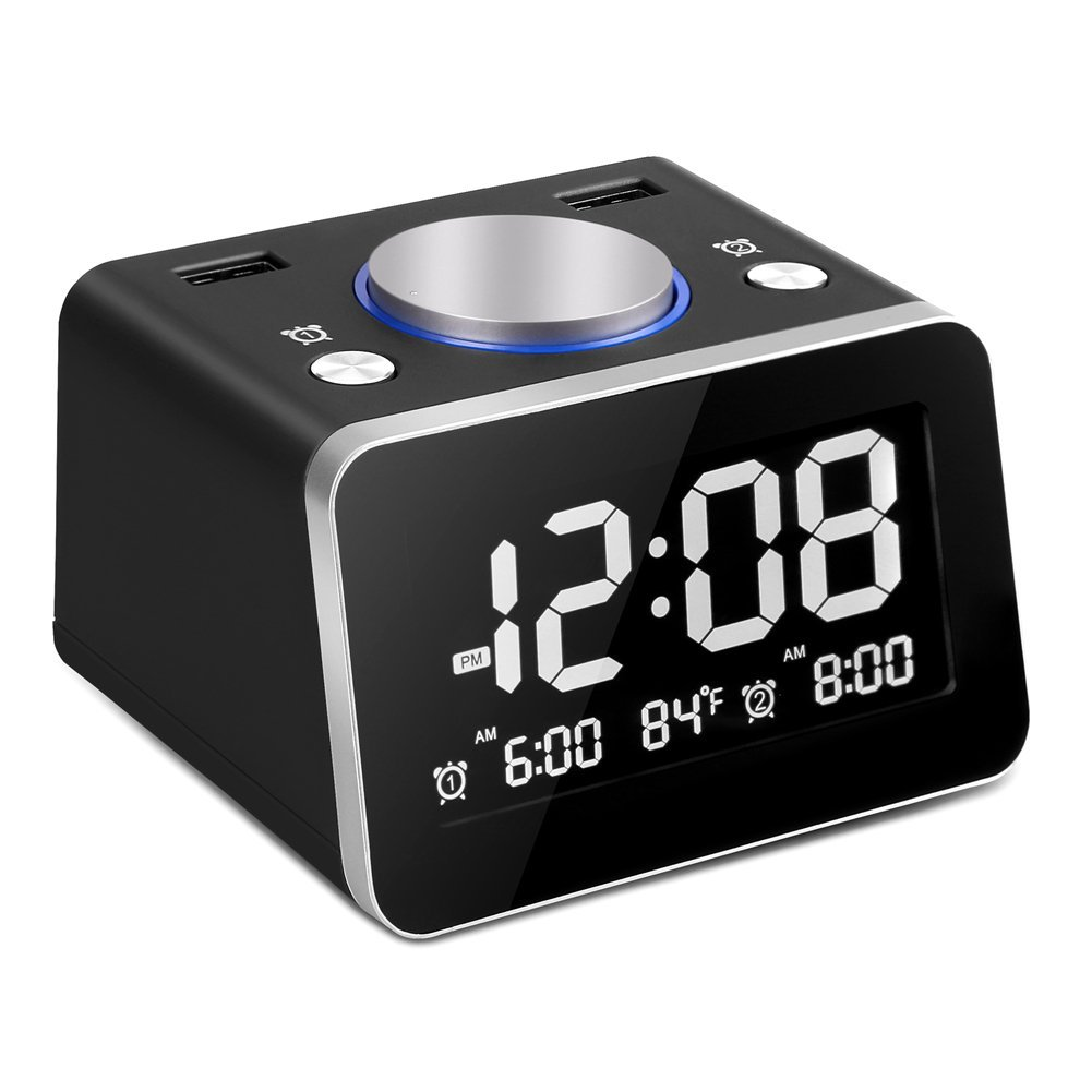 SVINZ Digital Dual Alarm Clock with 2 USB Charging Ports and Large Display, 2 Loud Musical Alarm, 4 Dimmer, Indoor Temperature for Bedrooms, Battery Backup, SCC009-Black