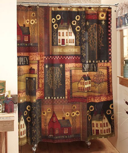 Simplify Primitive Country Home Fabric Shower Curtain
