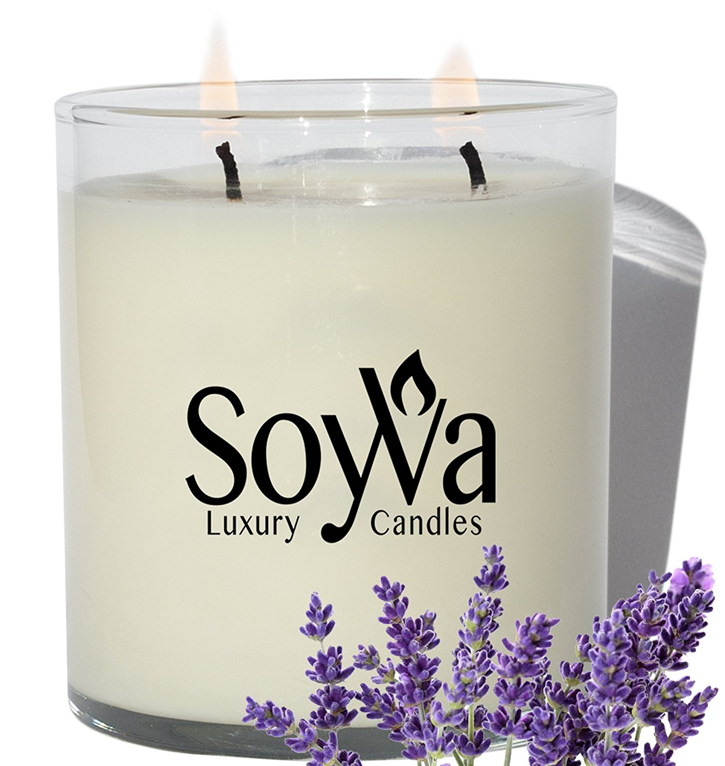 SoyVa Lavender Scented Natural Soy Wax Handmade Aromatherapy Candle, 9 oz.
