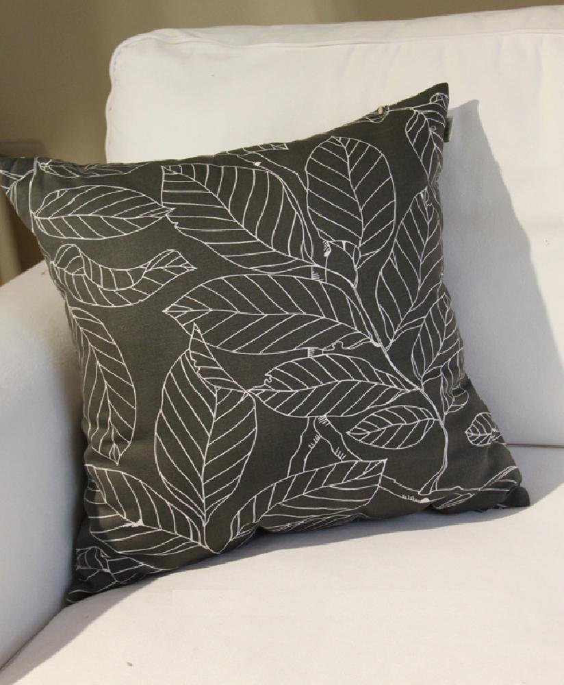 "TangDepot Decorative Handmade Light Black Floral 100% Cotton Printcloth Throw Pillow Covers /Pillow Shams, Include 4 Sizes, Light Black, 12"" x 18"", 18"" x 18"", 22"" x 22"" and 26"" x 26"" - 18"" x 18"", Light Black"