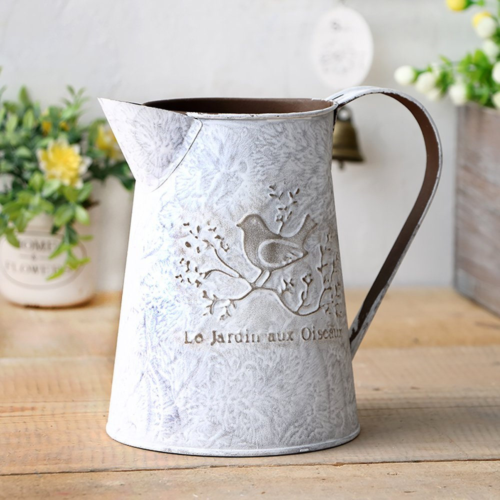 VANCORE French Style Shabby Chic Mini Metal Pitcher Flower Vase with Vintage Bird Decorative