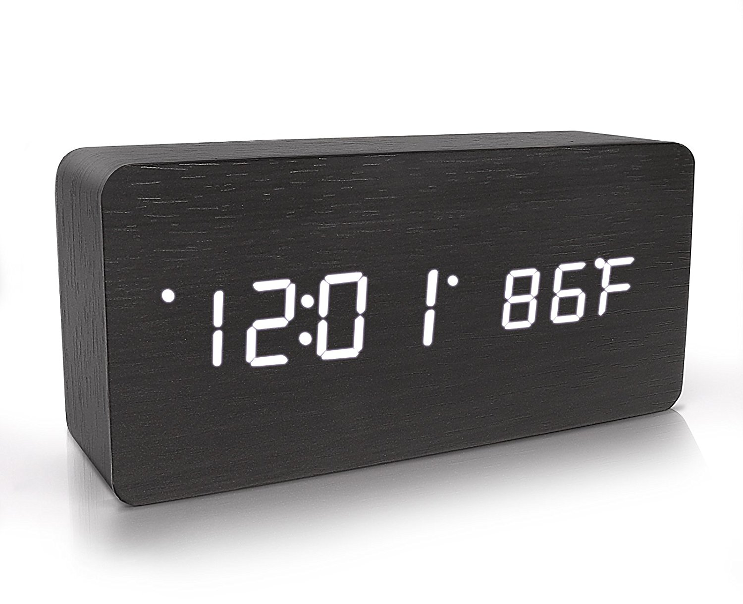 Warmhoming Wooden Digital Alarm Clock, Acoustic Control Clock With Time Temperature And Voice Control, Black