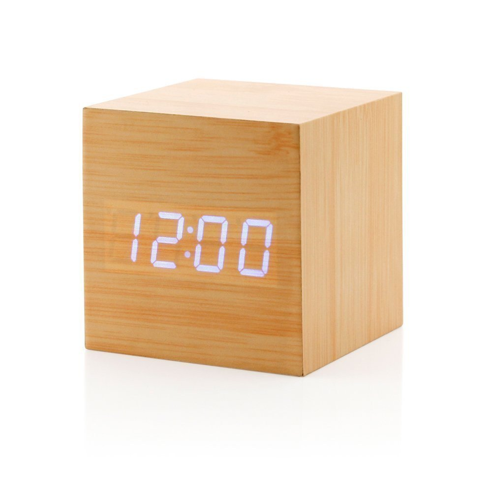 Wooden Digital Alarm Clock, Touch Sound Activated Desk Clock Thermometer/ Timer/ Calendar (USB/AAA )