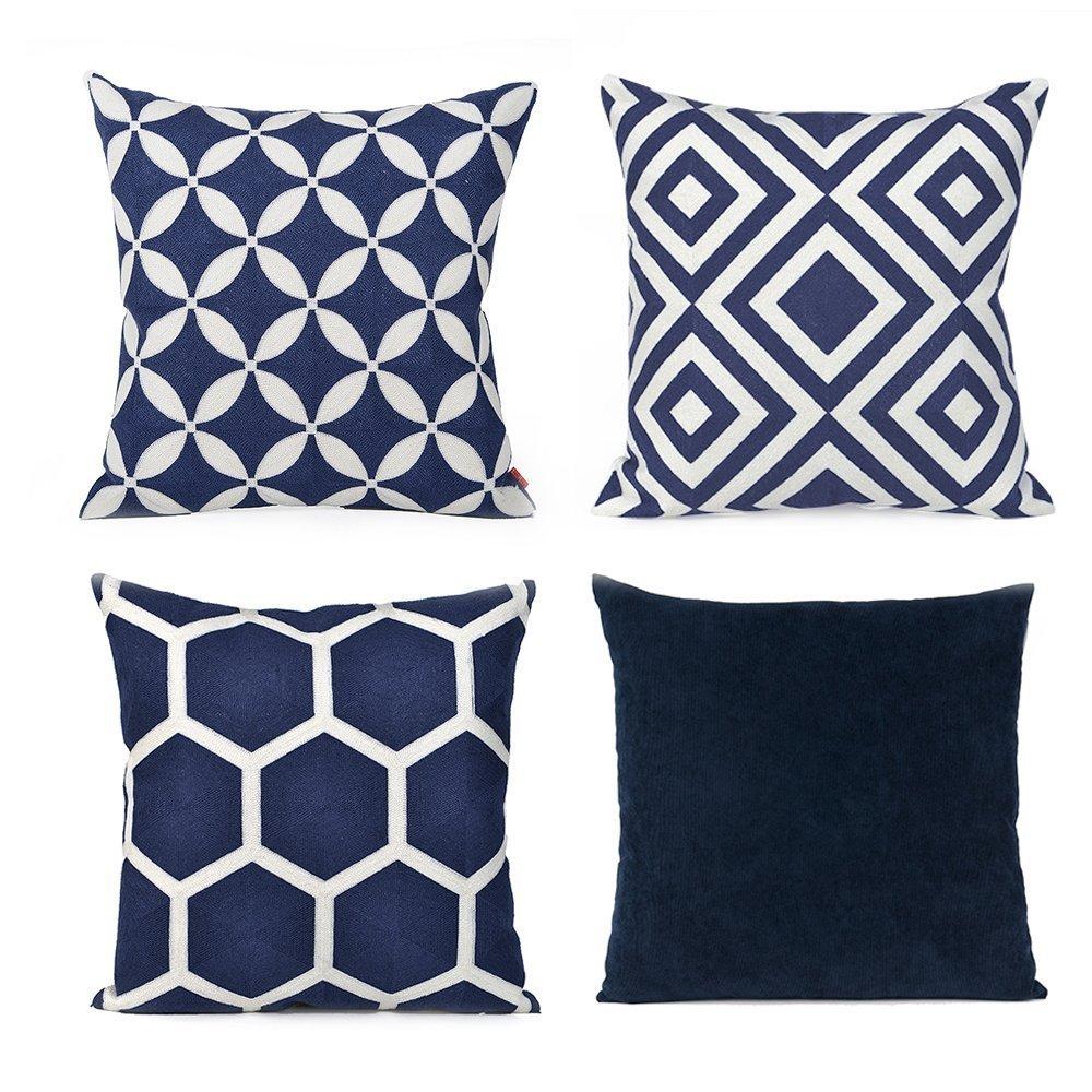 baibu Cotton Decor Throw Pillow Case Geometric Design Pattern Cushion Covers Dark Blue 4PCS